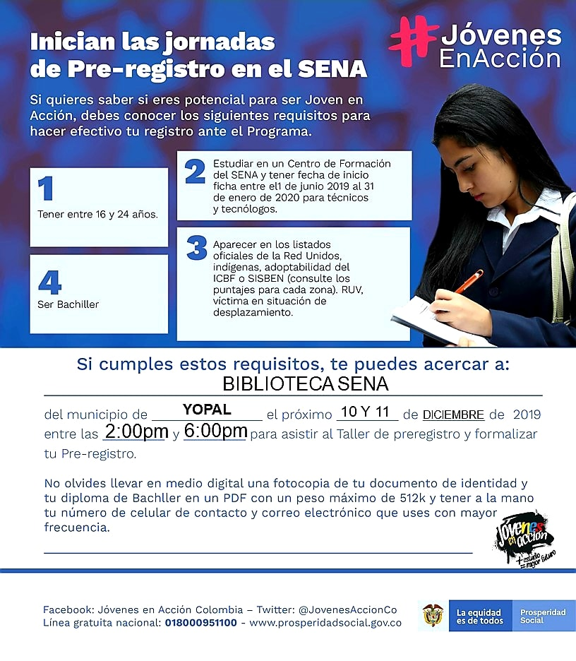 Photo of Este martes y miércoles nuevas jornadas de pre-registro para Jóvenes en Acción en Yopal