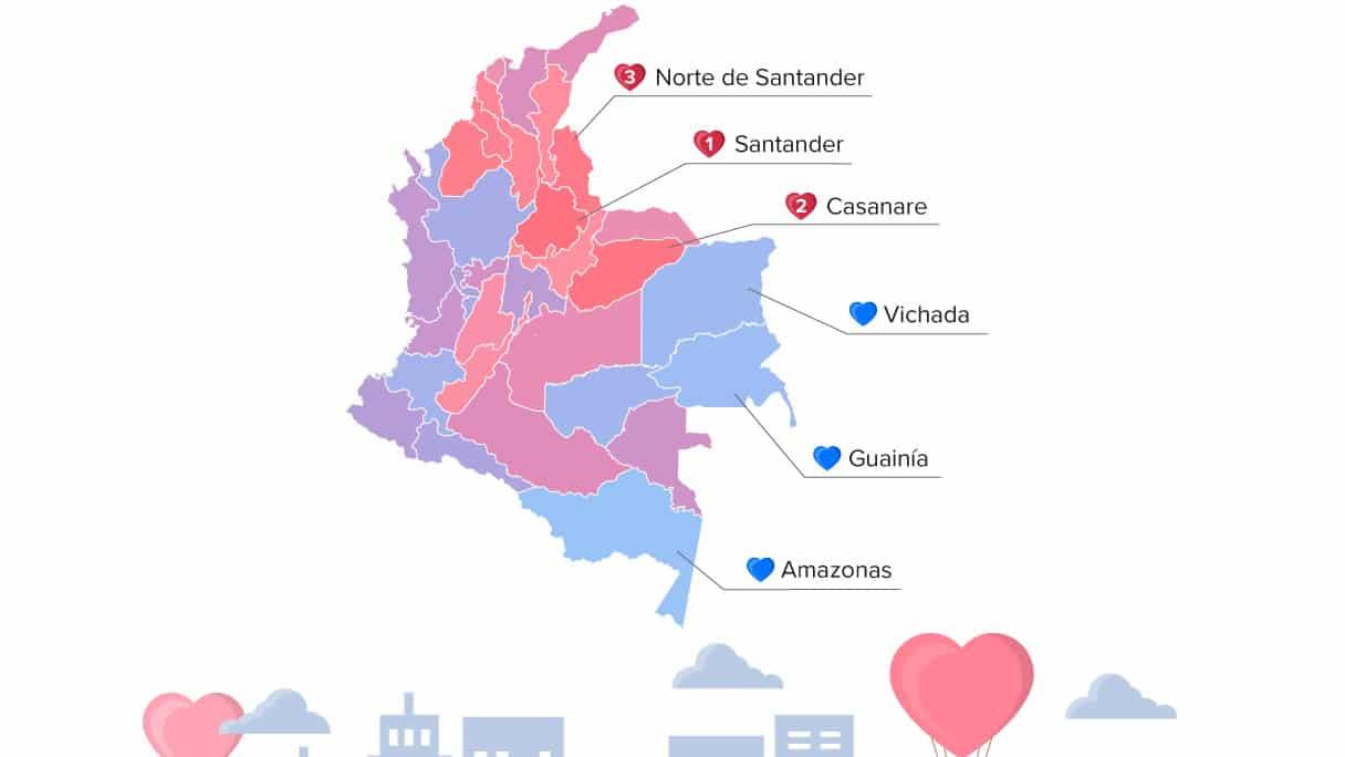 Photo of Santander y Casanare departamentos donde viven los colombianos más románticos, según estudio